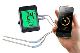 Rosenstein & Söhne Ofenthermometer: Grillthermometer m. Bluetooth, Android- & iOS-App, 2 Temperatur-Fühler (Bratenthermometer Bluetooth) - 1