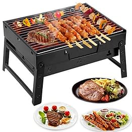 Mbuynow Picknickgrill Kleiner Grill Klappgrill Tragbarer BBQ Grill Holzkohlegrill für Camping Garten Party Barbecue (L 34cm x W 30cm x H 20cm) - 1