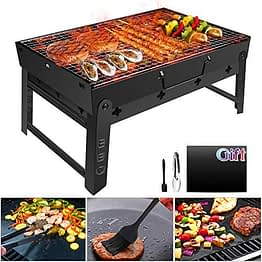 GolWof Faltbare BBQ Grill Holzkohlegrill Edelstahl Portable Grill Campinggrill Picknickgrill Tragbarer Klappgrill Outdoor mit Clip Bürste Matte für 3-5 Personen für Garten Party Camping 44*29*23cm - 1