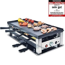 Solis Grill 5 in 1, Raclette/ Tischgrill/ Wok/ Crêpes/Pizza, 8 Personen, Edelstahl, Table Grill 5 in 1 (Typ 790) - 1