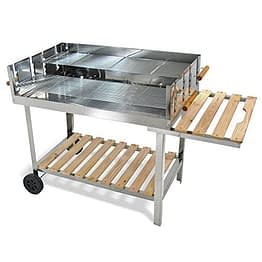 JOM Edelstahl Barbecue Holzkohle Grill Grillwagen BBQ 136x60x93 XXL - 1